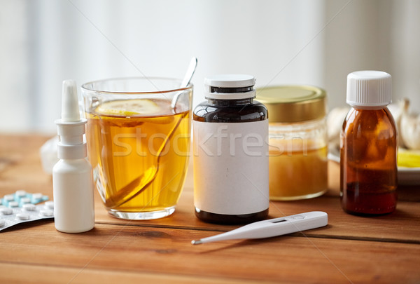 наркотики термометра меда Кубок чай древесины Сток-фото © dolgachov