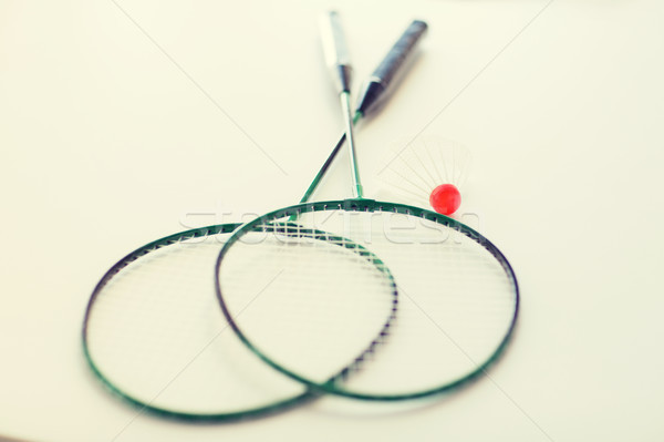 close up of badminton rackets with shuttlecock Stock photo © dolgachov