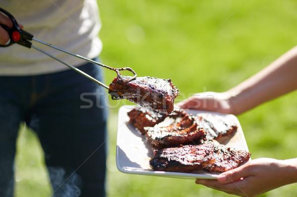 男 料理 肉 夏 パーティ バーベキュー ストックフォト © dolgachov