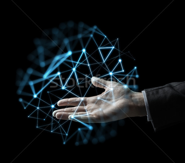 businessman hand with virtual network projection Stock photo © dolgachov