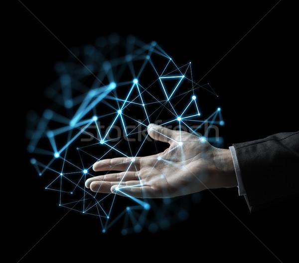 üzletember kéz virtuális hálózat vetítés üzletemberek Stock fotó © dolgachov