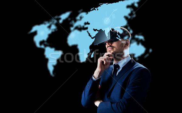 Zdjęcia stock: Biznesmen · faktyczny · rzeczywistość · zestawu · czarny · ludzi · biznesu