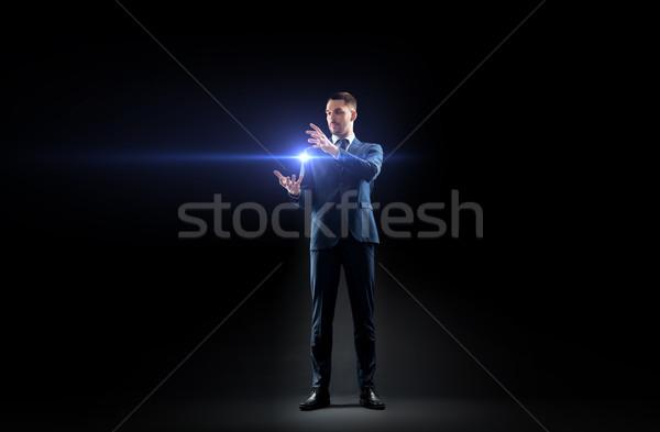 Empresário laser luz preto pessoas de negócios futuro Foto stock © dolgachov