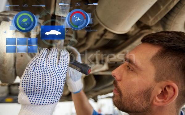 Mécanicien homme lampe de poche voiture magasin Photo stock © dolgachov
