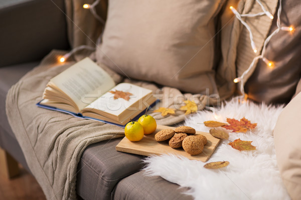 lemons, book, almond and oatmeal cookies on sofa Stock photo © dolgachov