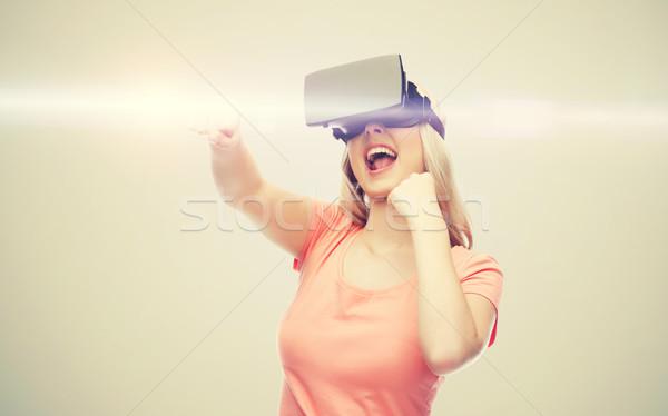 Mulher virtual realidade fone óculos 3d 3D Foto stock © dolgachov