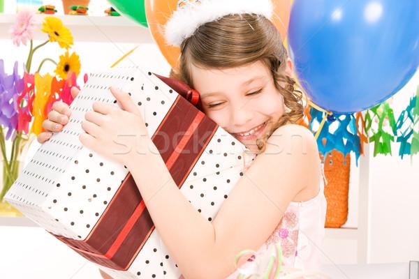 Stok fotoğraf: Parti · kız · balonlar · hediye · kutusu · mutlu · kutu