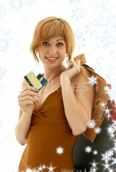 Consument meisje sneeuwvlokken mooie creditcards Stockfoto © dolgachov