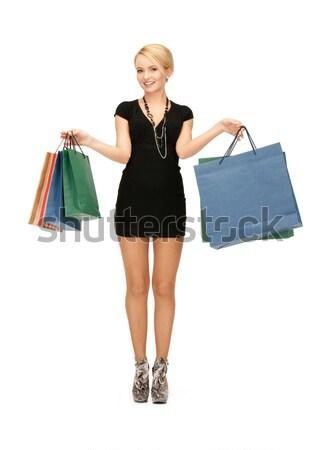 Foto d'archivio: Shopping · vestito · nero · fiocchi · di · neve · elegante