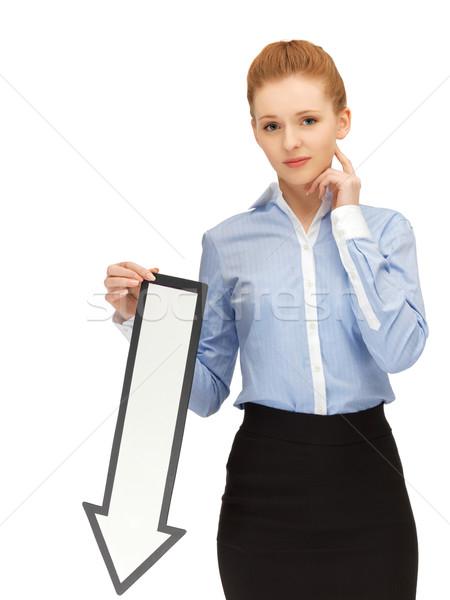 Kadın yön ok işareti resim mutsuz iş Stok fotoğraf © dolgachov