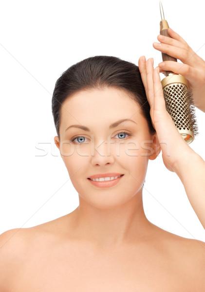 Stockfoto: Mooie · vrouw · kam · heldere · foto · vrouw · gezicht