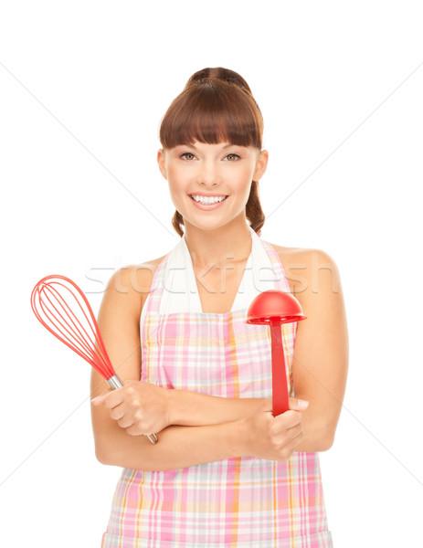 Stock fotó: Háziasszony · piros · merőkanál · kép · gyönyörű · nő