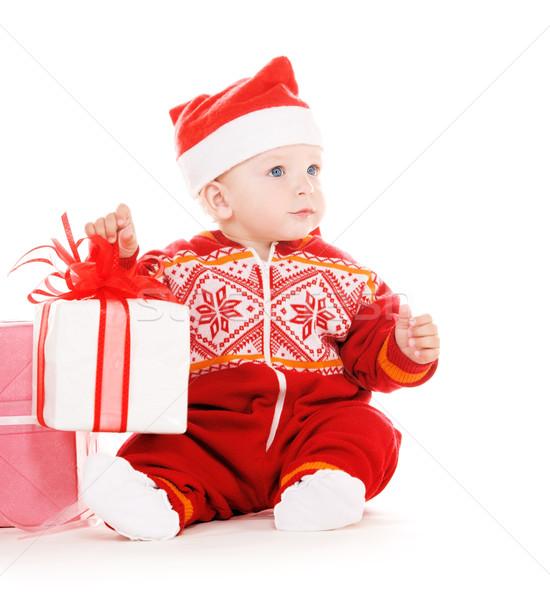 Сток-фото: помощник · ребенка · Рождества · подарки · белый