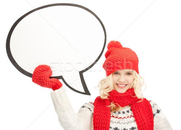 Mosolygó nő szöveg buborék fényes kép nő Stock fotó © dolgachov