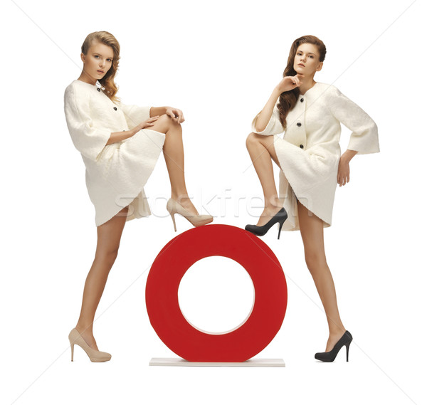 two teenage girls with o letter Stock photo © dolgachov