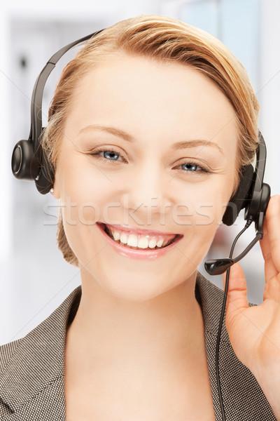 Línea de ayuda brillante Foto amistoso femenino operador Foto stock © dolgachov
