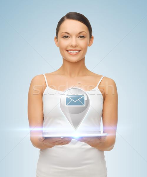 Nő táblagép sms ikon kép gyönyörű nő Stock fotó © dolgachov