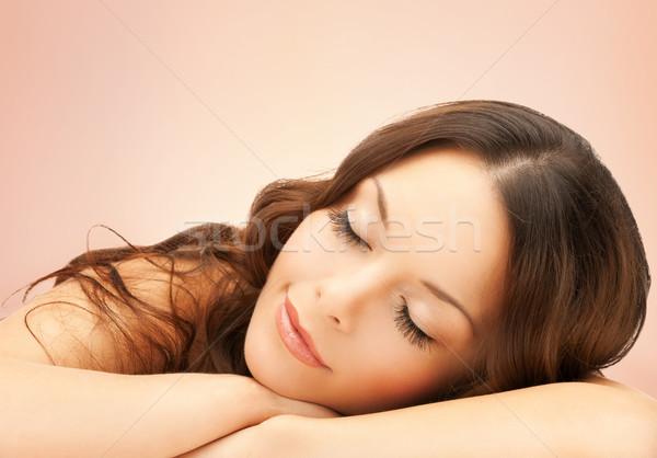 Gyönyörű nő hosszú szempilla fürdő nő technológia Stock fotó © dolgachov