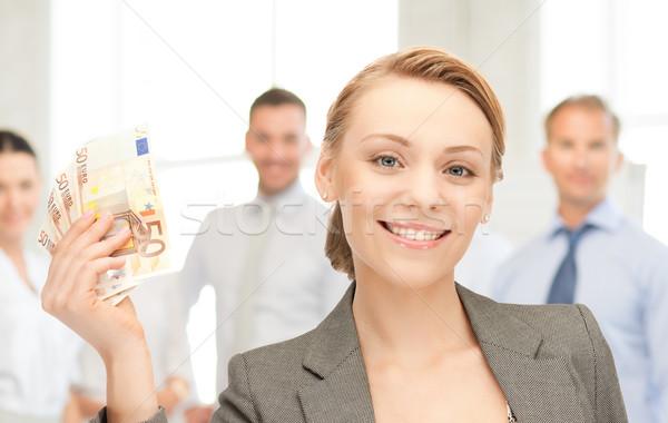 Nő Euro pénz pénz kép üzlet Stock fotó © dolgachov