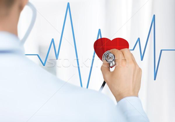 врач прослушивании сердцебиение стетоскоп виртуальный экране Сток-фото © dolgachov