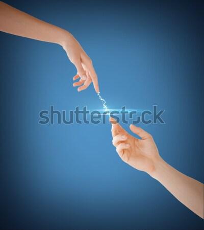 Nő férfi kezek kapcsolat elektromosság közelkép Stock fotó © dolgachov