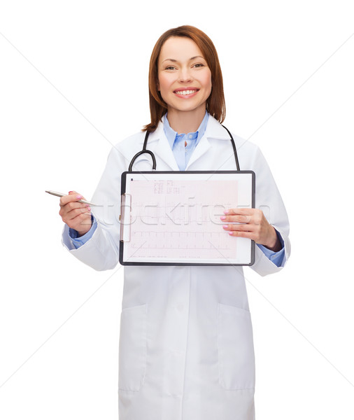 doctor with stethoscope, clipboard and cardiogram Stock photo © dolgachov