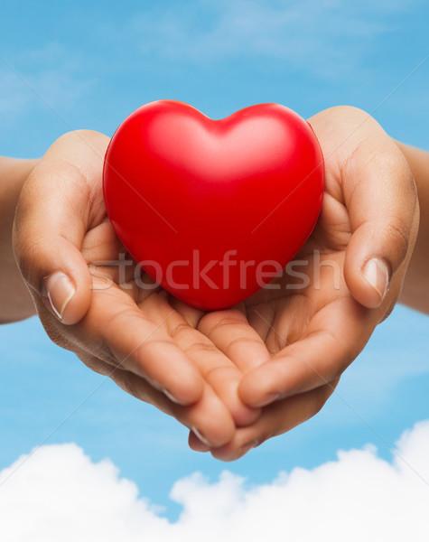 Mãos vermelho coração pessoas relação Foto stock © dolgachov