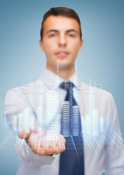 Stockfoto: Vriendelijk · tonen · iets · palm · business · kantoor