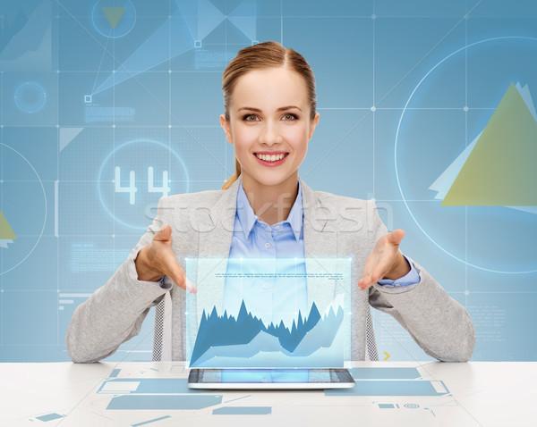 Stock fotó: Mosolyog · üzletasszony · táblagép · üzlet · technológia · internet