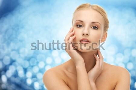 Bela mulher cabelos longos saúde beleza cara mãos Foto stock © dolgachov