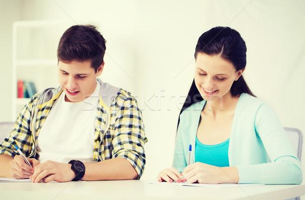 Lächelnd Studenten Lehrbücher Schule Bildung zwei Stock foto © dolgachov