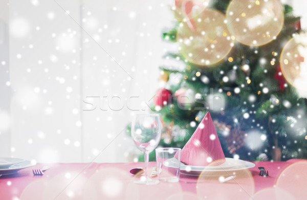 Stockfoto: Kamer · kerstboom · ingericht · tabel · vakantie · viering