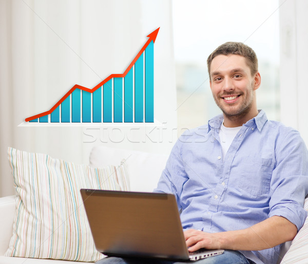smiling man with laptop and growth chart at home Stock photo © dolgachov