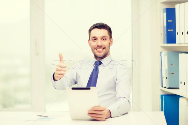 Foto stock: Sorridente · empresário · documentos · negócio · tecnologia