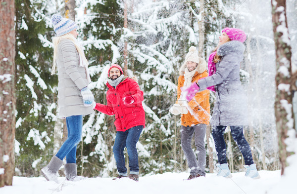 group of happy friends playing snowballs in forest Stock photo © dolgachov