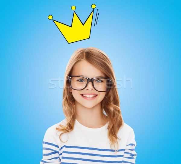 Sorridente little girl preto óculos educação Foto stock © dolgachov