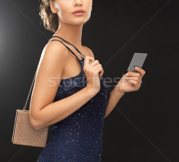 Stock fotó: Nő · estélyi · ruha · gyönyörű · nő · kicsi · táska · buli