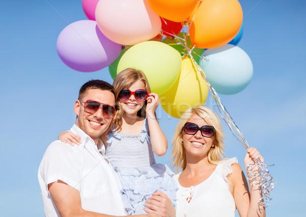 Foto stock: Família · colorido · balões · verão · férias · celebração