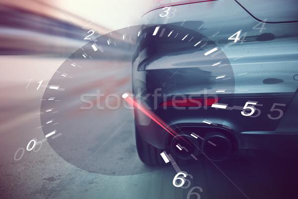Stok fotoğraf: Araba · yarış · yarış · pisti · izlemek · geri