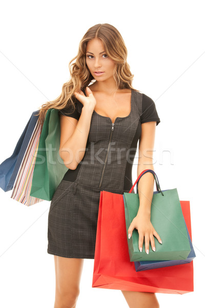 Femme blanche heureux Shopping Photo stock © dolgachov