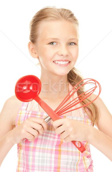 Stockfoto: Weinig · huisvrouw · Rood · pollepel · foto · meisje