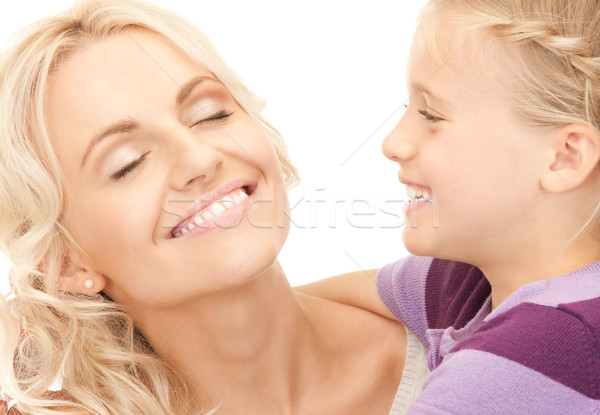 Gelukkig moeder kind heldere foto meisje Stockfoto © dolgachov