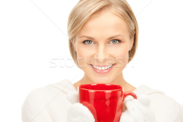 beautiful woman with red mug Stock photo © dolgachov