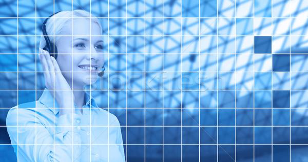 телефон доверия оператор гарнитура синий сетке деловые люди Сток-фото © dolgachov