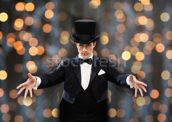 マジシャン 先頭 帽子 トリック 魔法 ストックフォト © dolgachov