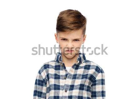 怒っ 少年 シャツ 幼年 感情 ストックフォト © dolgachov