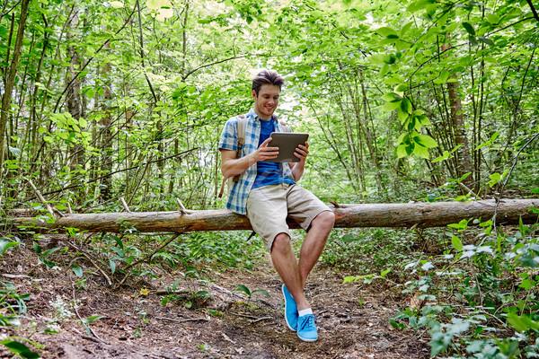 Szczęśliwy człowiek plecak lesie przygoda Zdjęcia stock © dolgachov