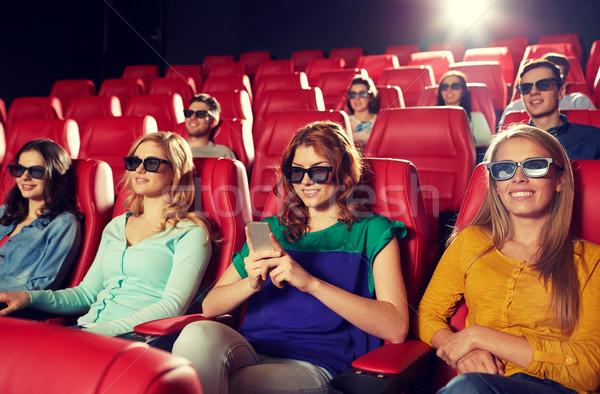 Feliz mujer 3D película teatro Foto stock © dolgachov