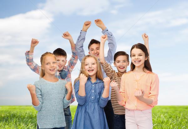 Szczęśliwy dzieci zwycięstwo dzieciństwo moda Zdjęcia stock © dolgachov