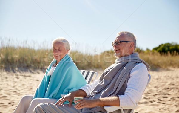 Gelukkig stoelen zomer strand familie Stockfoto © dolgachov